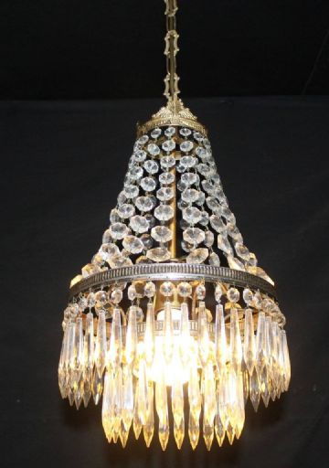 VINTAGE EMPIRE CHANDELIER FRENCH GLASS TENT & WATERFALL CEILING LIGHT - Ref: AOT28